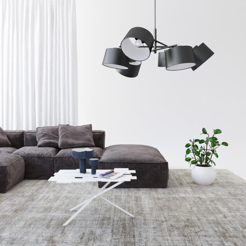 """Designový kovový lustr na tyči s neuvěřitelnými textilními stínítky.  60505 """"Lefor"""" foto5"""