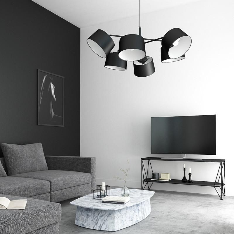 """Designový kovový lustr na tyči s neuvěřitelnými textilními stínítky.  60505 """"Lefor"""" foto2"""