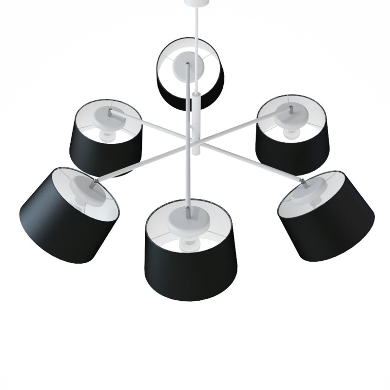 """Designový kovový lustr na tyči s neuvěřitelnými textilními stínítky.  60505 """"Lefor"""" foto4"""