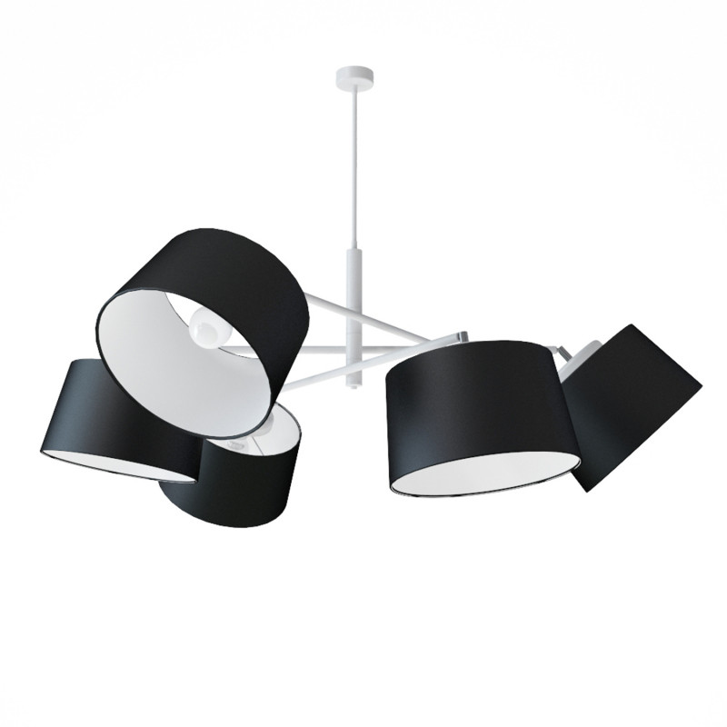 """Designový kovový lustr na tyči s neuvěřitelnými textilními stínítky.  60505 """"Lefor"""""""