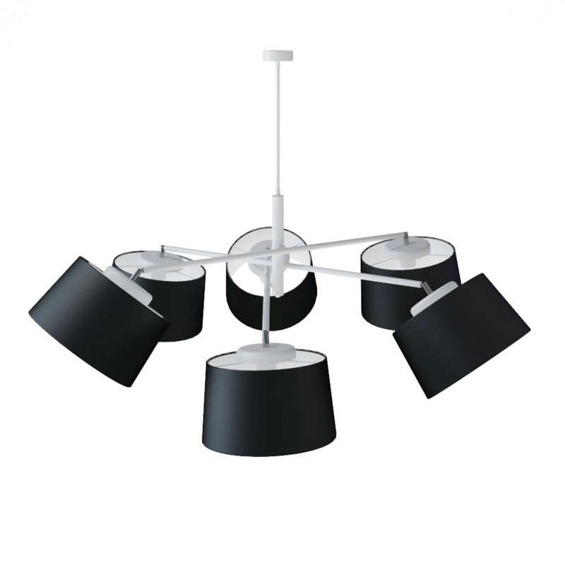 """Designový kovový lustr na tyči s neuvěřitelnými textilními stínítky.  60505 """"Lefor"""" foto3"""