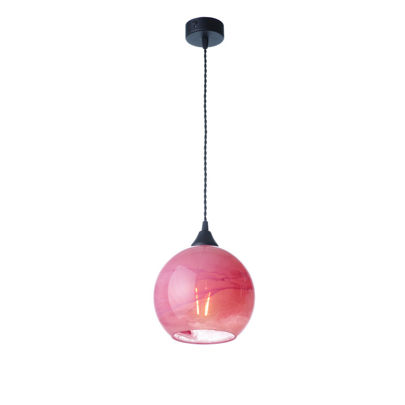 """Suspended luminaire with shade made of blown glass 19603 """"MARBLE"""""""